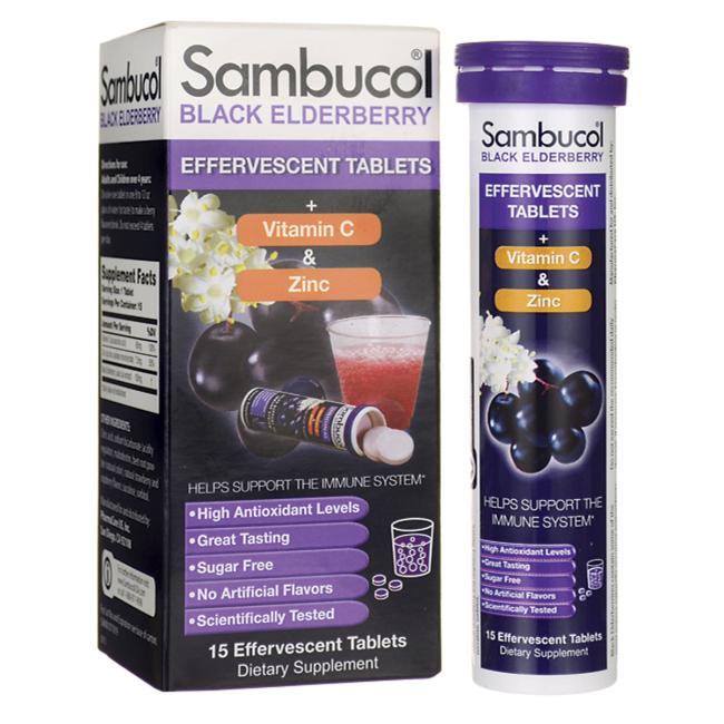 Black Elderberry Vitamin C & Zinc Effervescent Tablet, 15