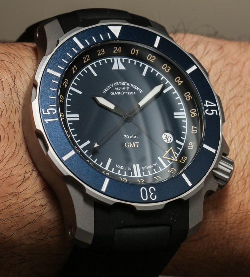 Muhle glashutte seebataillon gmt watch hands on watches pinterest for Muhle watches
