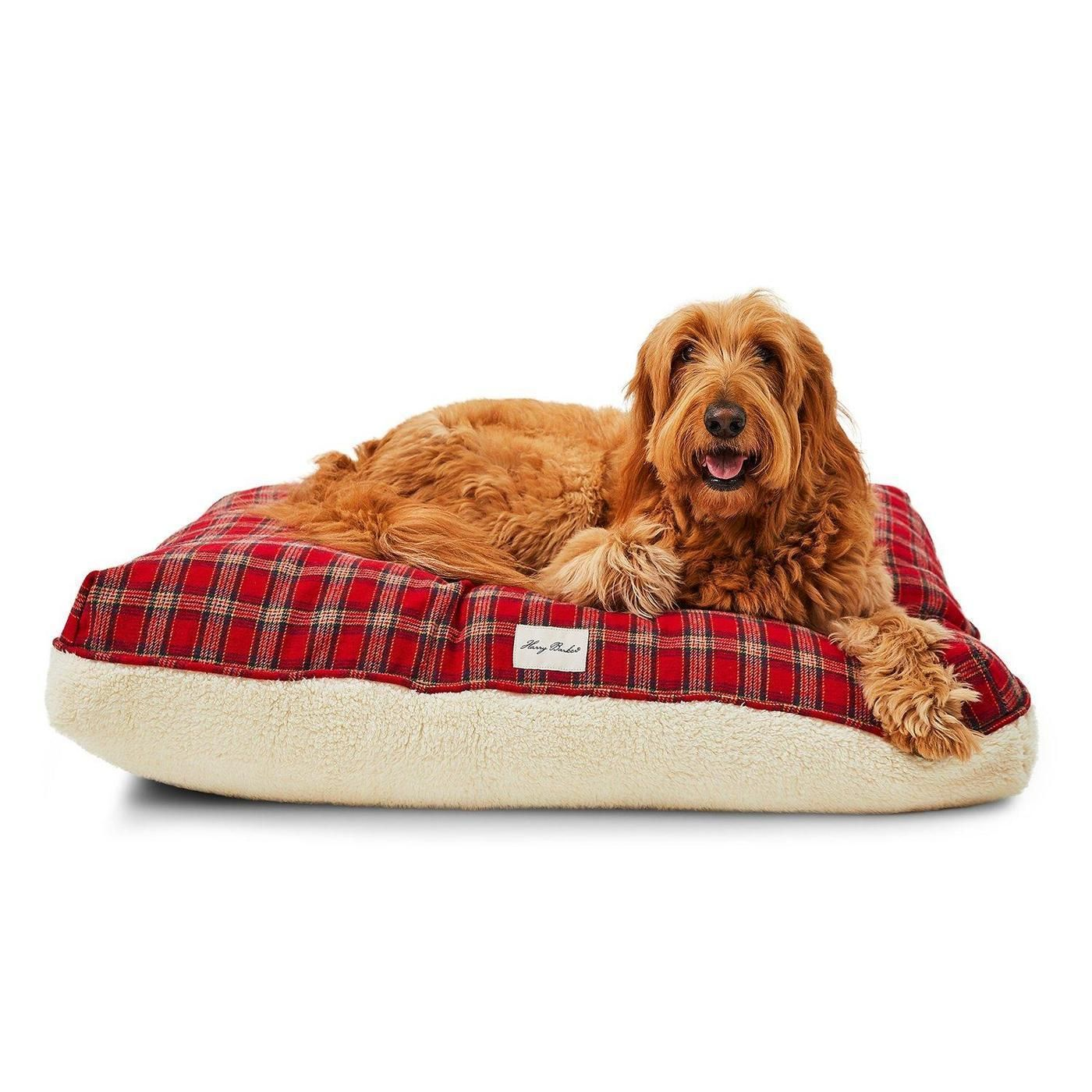 Plaid Sherpa Rectangle Dog Bed Cover Covered dog bed