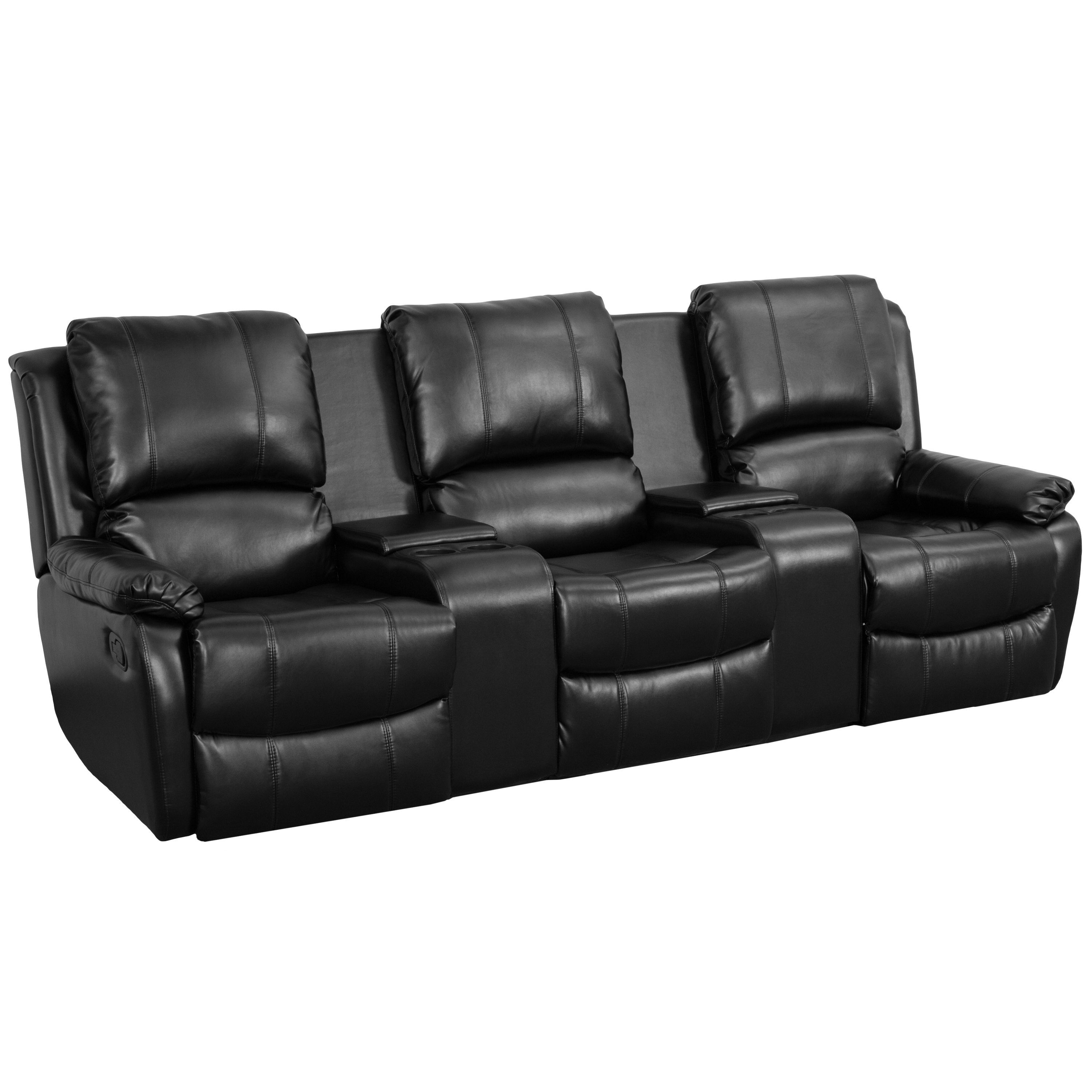 Allure Series 3Seat Reclining Pillow Back Black Leather