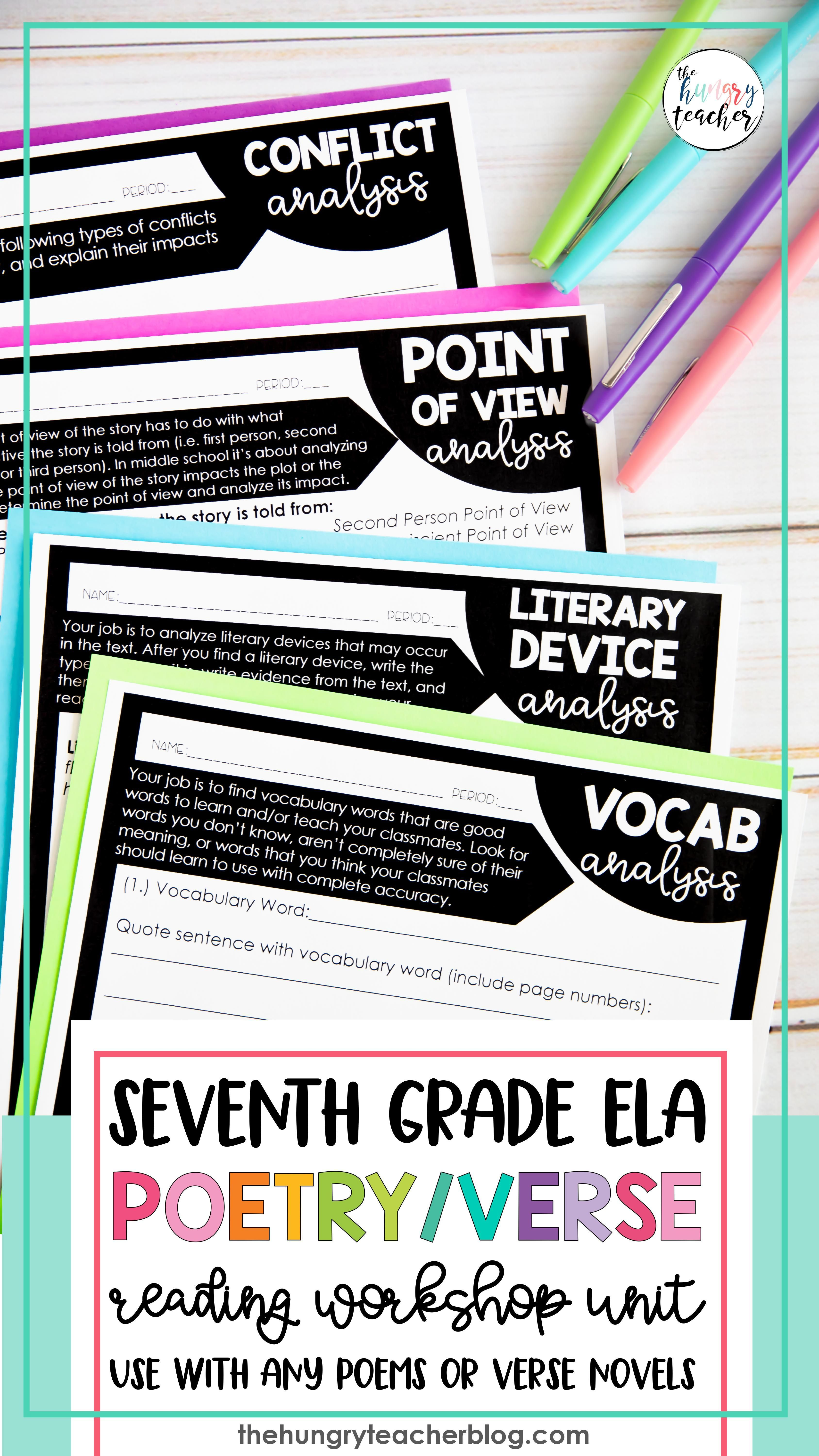 Middle School Poetry Unit Lessons Writing Activities In