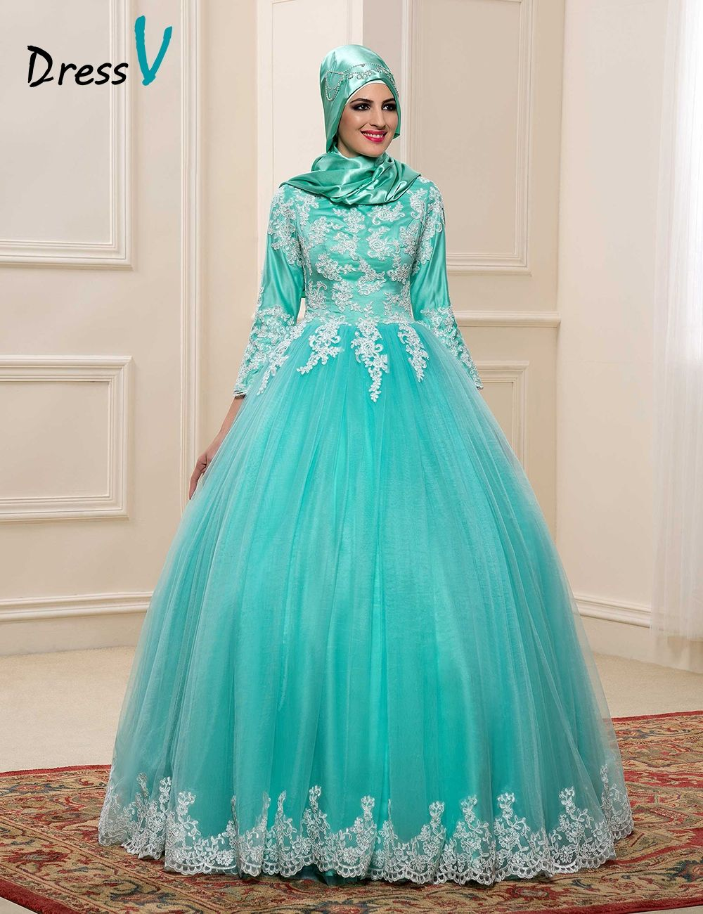 2017 Muslim Wedding Dresses With Hijab High Neck 3/4 Sleeves Mint ...
