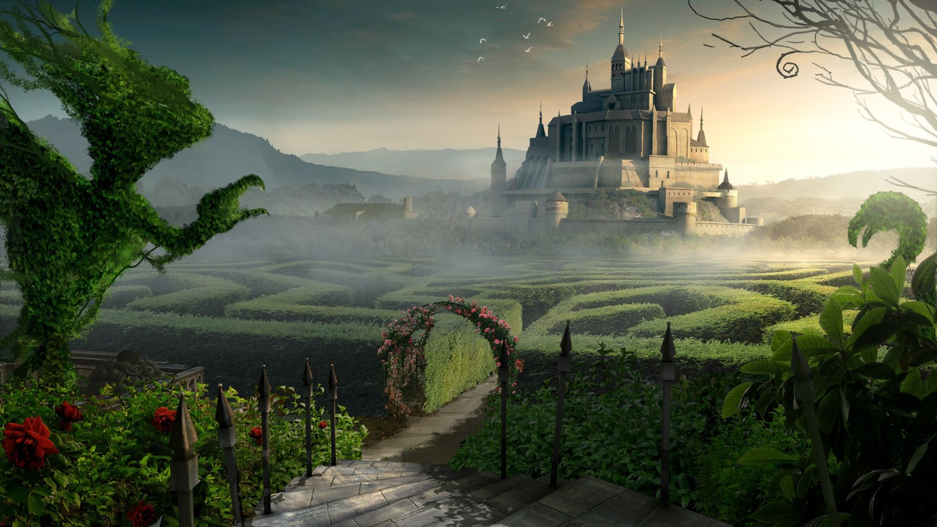 Labyrinth Art Castle Beyond The Labyrinth Garden Wallpaper