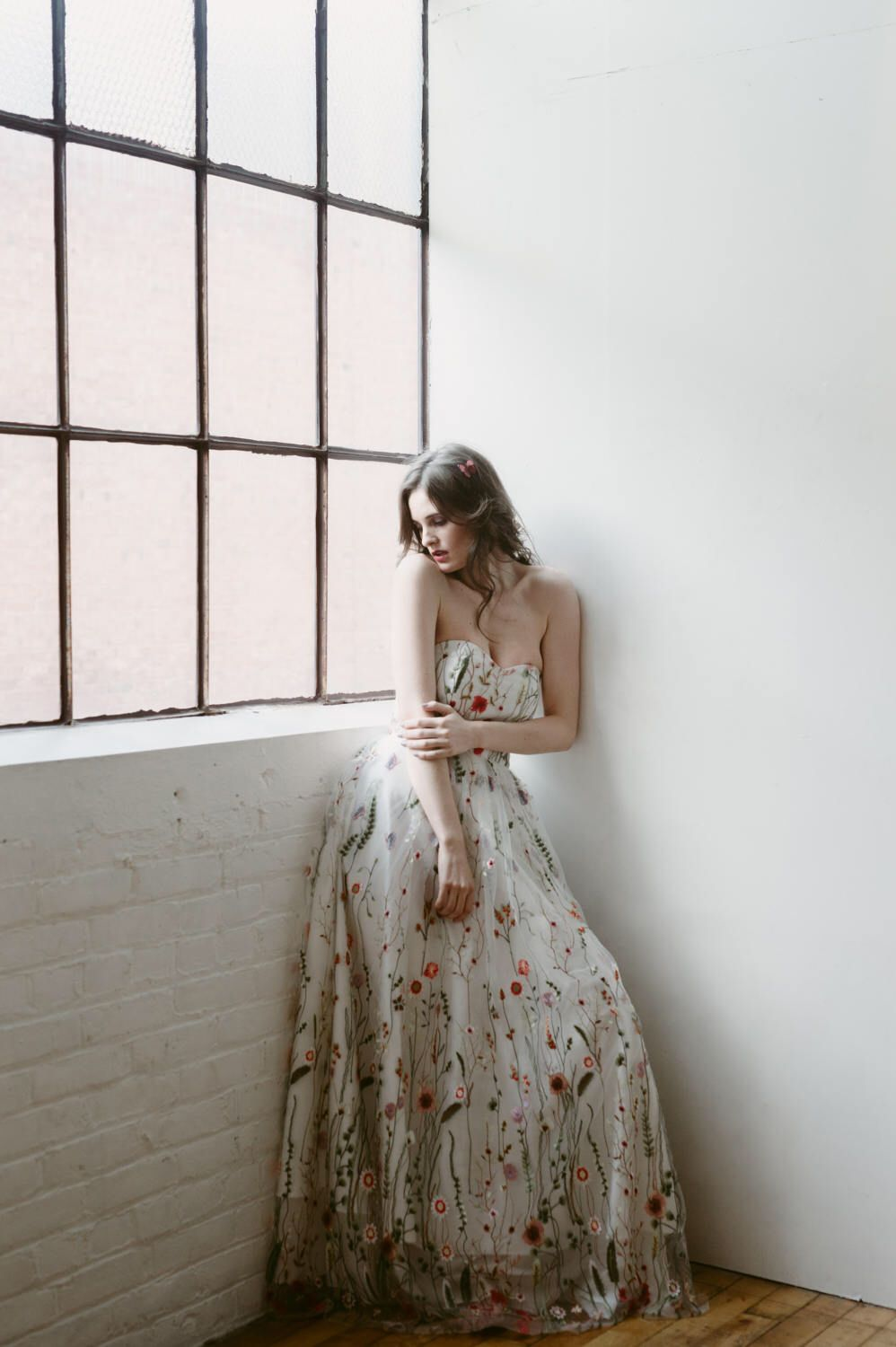 Embroidered gown floral wedding dress prom dress embroidery
