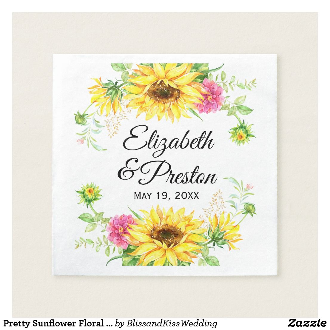 Pretty Personalized Sunflower Floral Wedding Chic Floral Reception ...