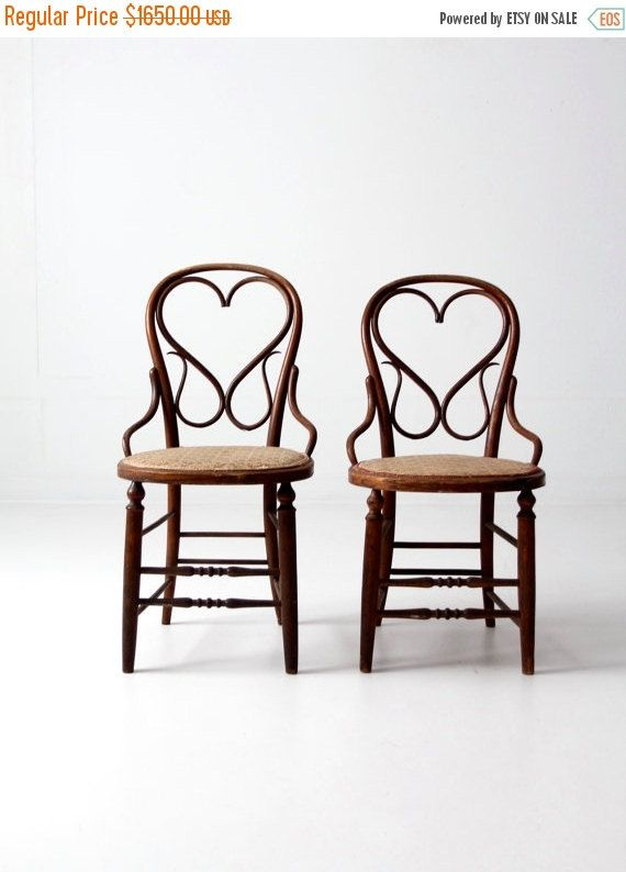 SALE antique bentwood chair set/2 heart back wood chairs by 86home - Antique Bentwood Chair Set/2, Heart Back Wood Chairs With Floral