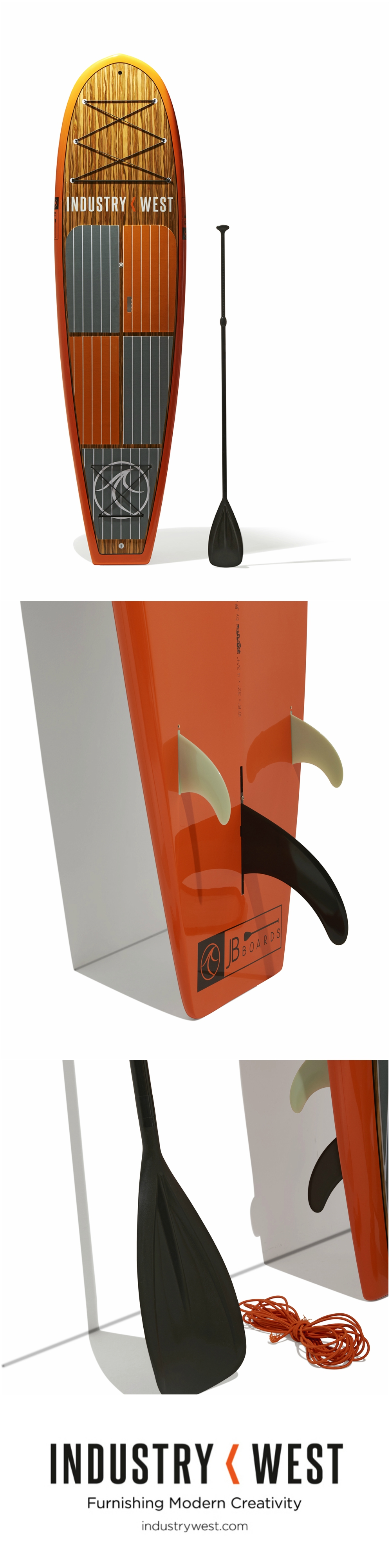 """In collaboration with JB Boards Industry West presents a line of custom-designed, fiberglass paddle boards. These 10' 6"""" boards feature a wood veneer with layered fiberglass and epoxy construction. They are vacuum bagged for durability."""
