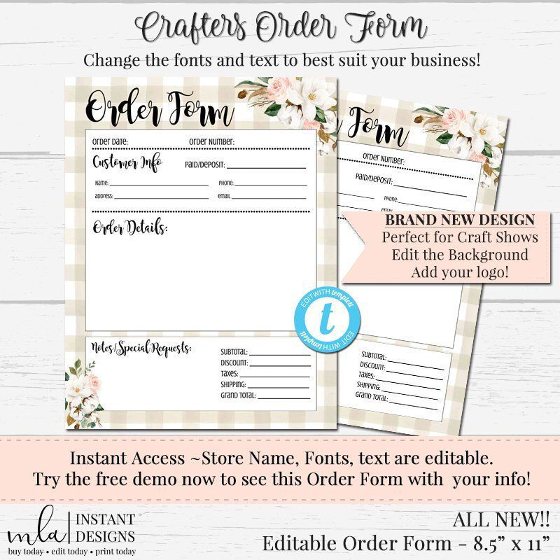 Crafter's Order Form, Editable Order Form, DIY Order Form