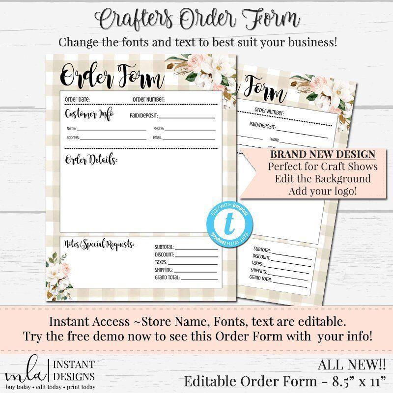 Printable Free Tumbler Order Form Template
