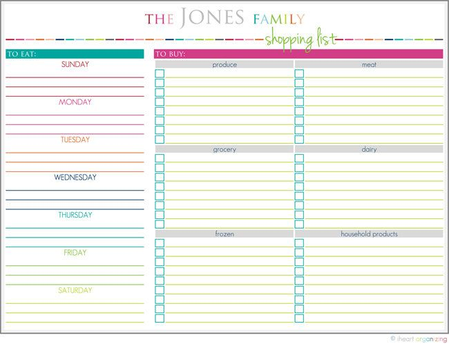 Personalized Meal Planning and Shopping List Printable $300, via