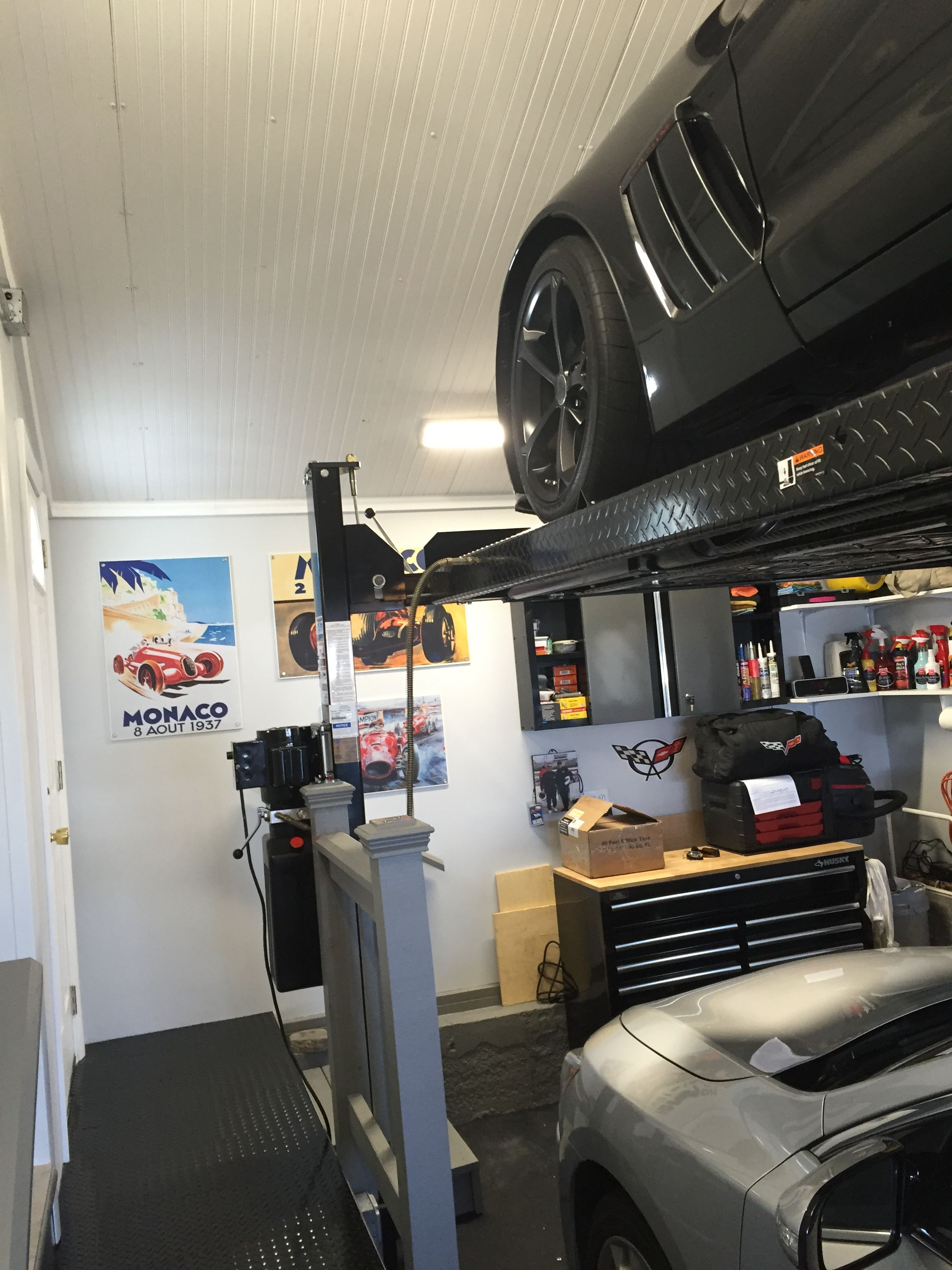 Car Lift In Garage Garage Car Lift Diy Man Cave Makeover Garage Car Lift 1 Car