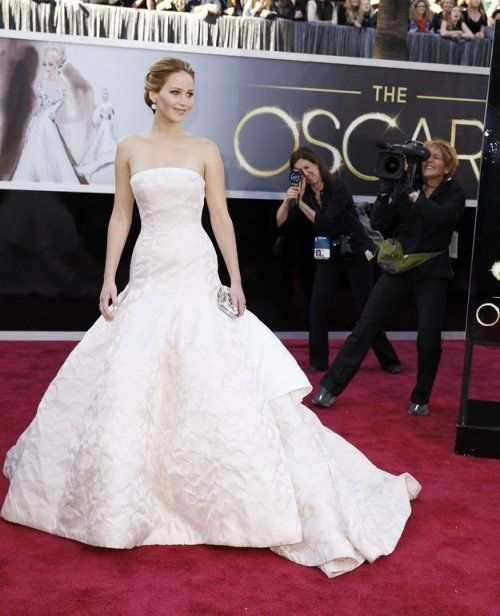 Jennifer Lawrence Dior White Dress Celebrity Dresses