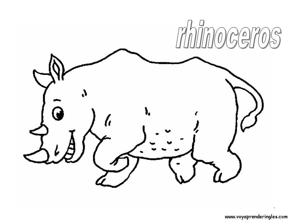Recursos Educativos En Ingles Coloring Pages Animals Laminas Para Colorear En Ingles Animales 28 Rhinoceros En 2020 Animalitos Para Colorear Dibujos Animales