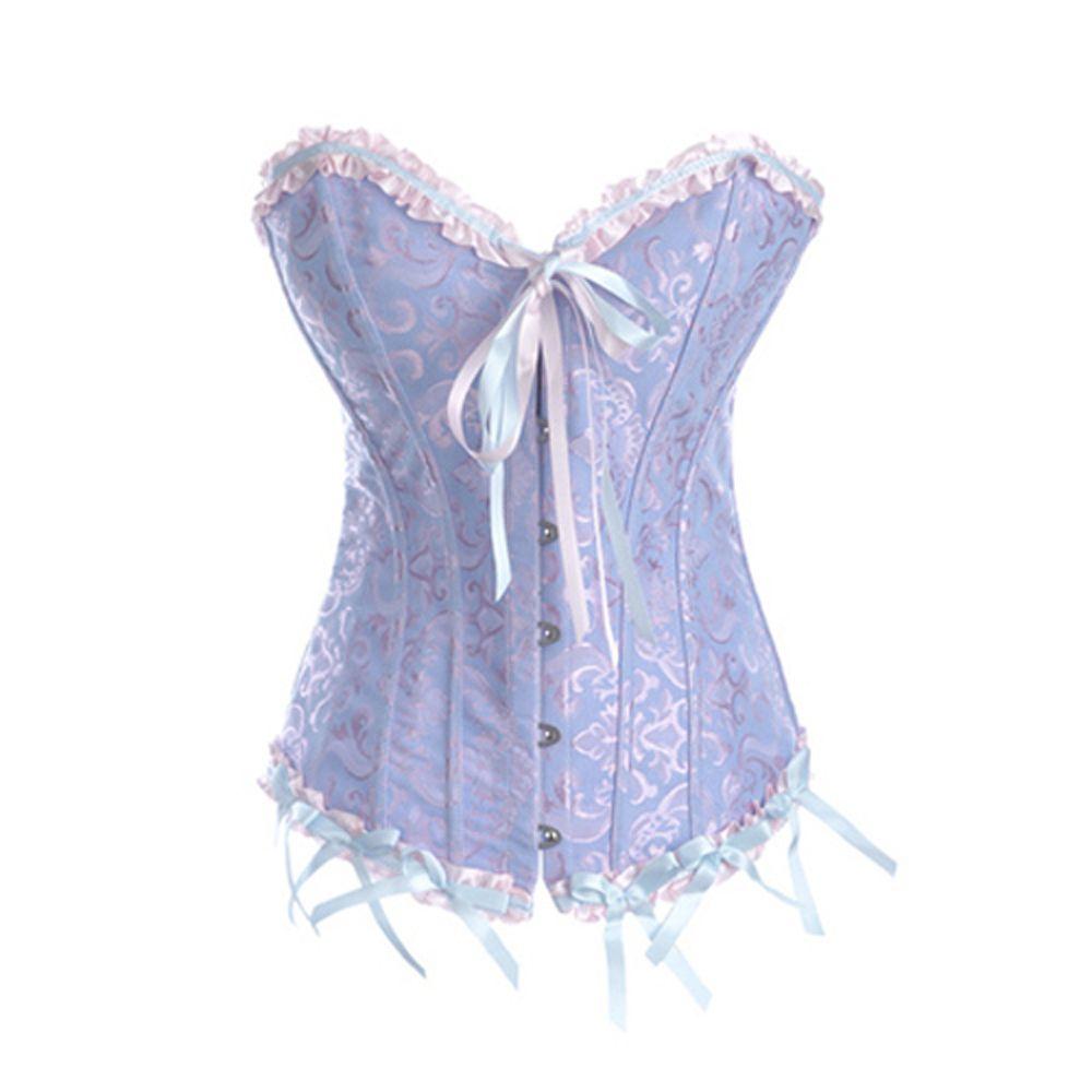 14e0ccf601 Opentip.com  Muka Satin Boned Lace Up Overbust Corsets Bustier Halloween  Costume Top