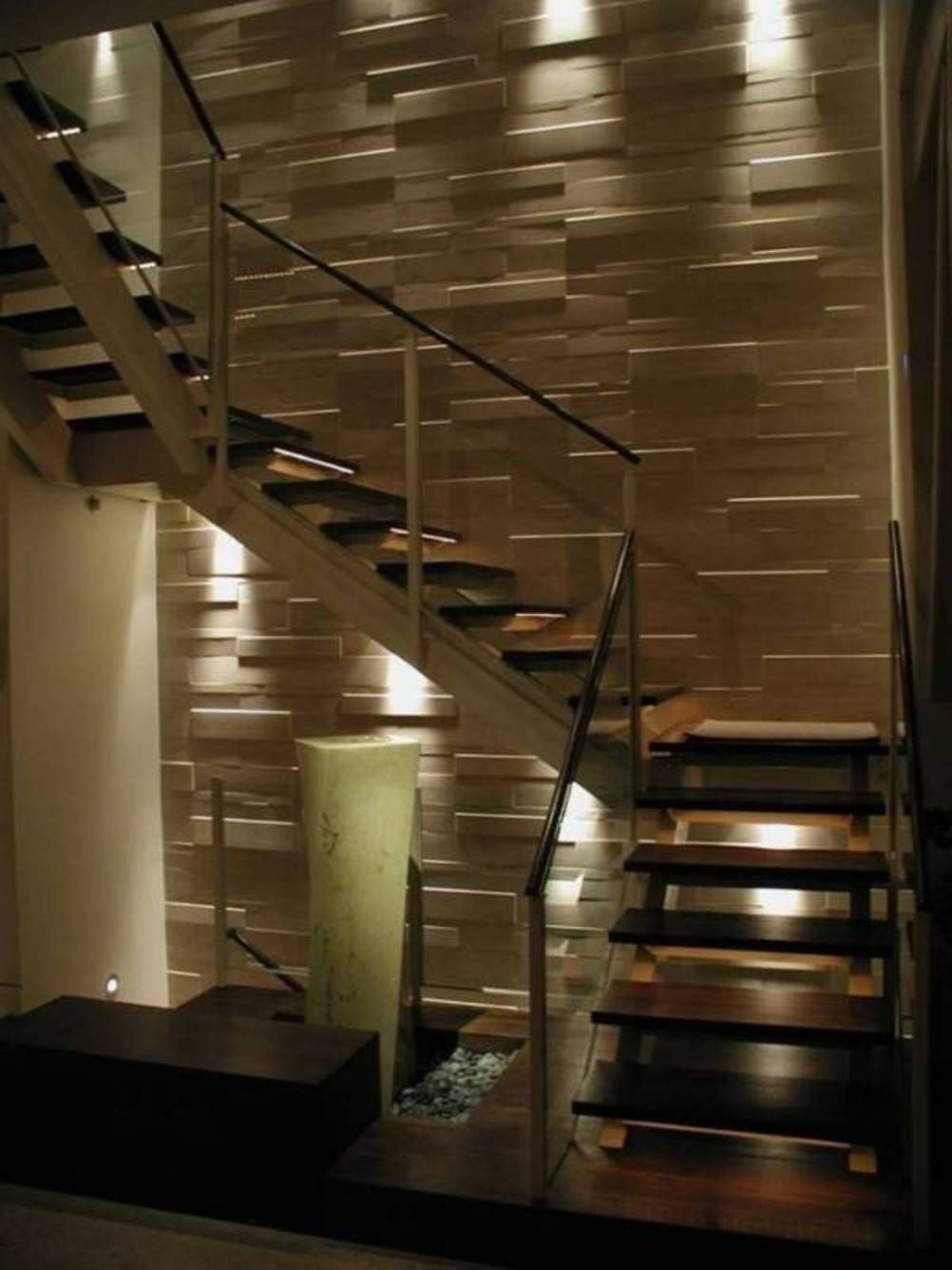 Home Design And Decor , Home Interior Wall Cladding Ideas : Decorative  Interior Wall Cladding Ideas With Stairs