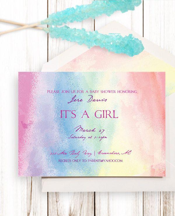 Watercolor dots baby shower invitation pastel colors lavender – Baby Birth Party Invitation