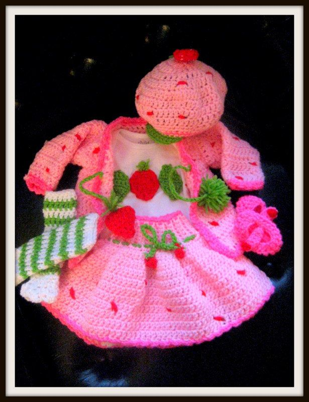 Strawberry Shortcake Crochet Outfit Sweater Skirt Hat Booties Diaper ...
