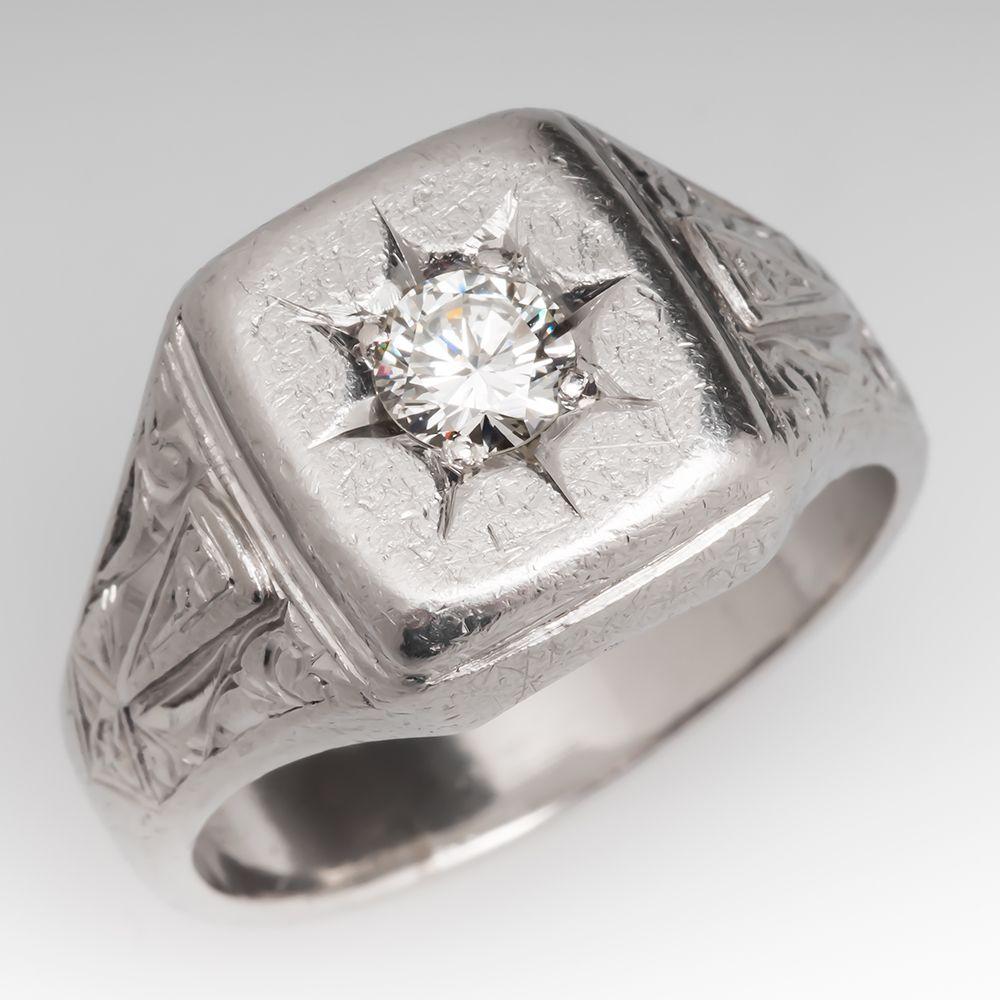 vintage heavy mens platinum ring w engravings
