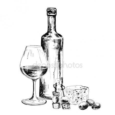 Бутылка вина и голубой сыр | Дизайн этикеток для вина ...