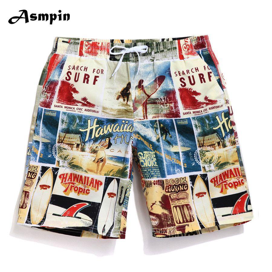 57aa7aa9312 2018 Boardshorts Men Quick Dry Board Shorts Hawaiian Bermudas Fashion  Casual Beach Shorts Swimwear Swimshorts Funny Plus Size