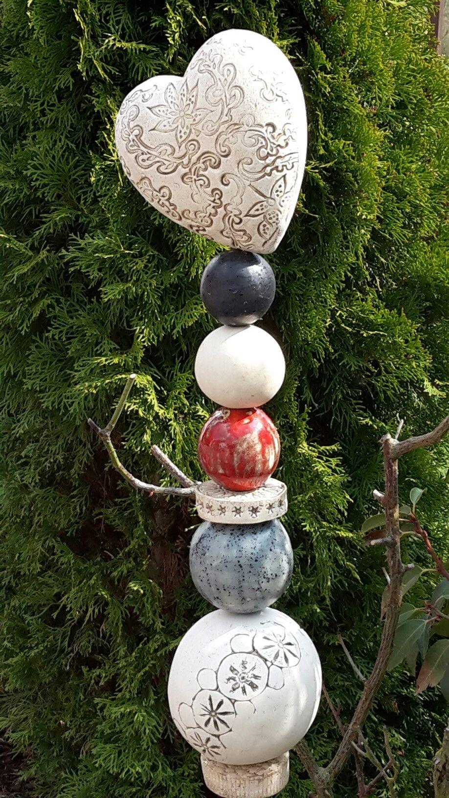 Gartenstele Herz Ceramic Totems In 2019 Pottery Ceramics Clay