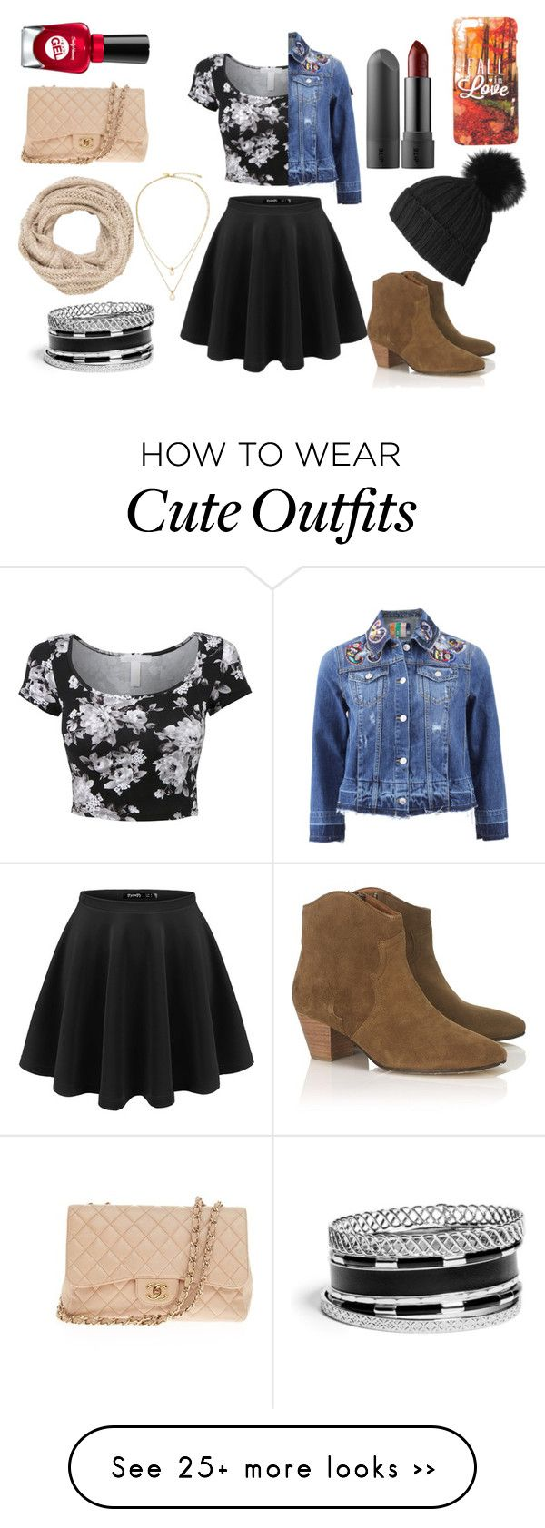 """cute outfit"" by the-tumblr-girl on Polyvore featuring MSGM, Isabel Marant, GUESS, Kate Spade, Chanel, Sally Hansen and maurices"