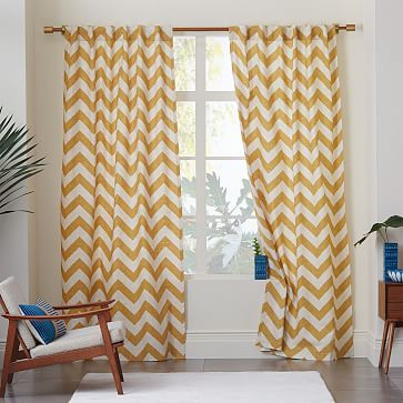 Cotton Canvas Zigzag Curtain Maize Curtains And Draperies Home Decor Living Room Wood