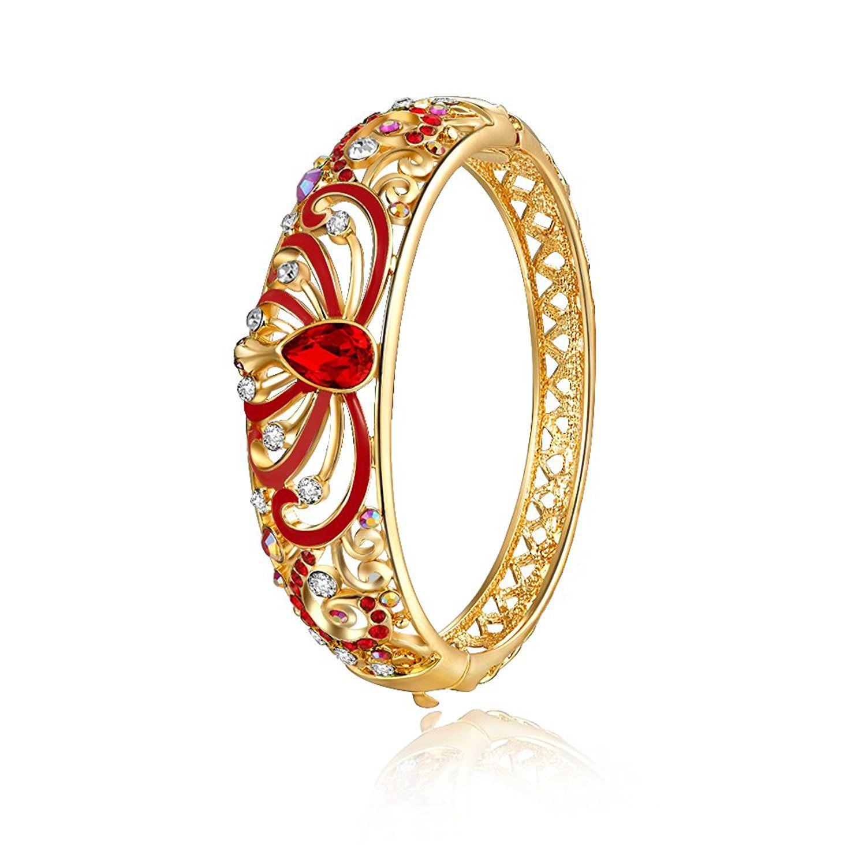 City ouna rose gold red austrian crystal women bangle bracelet