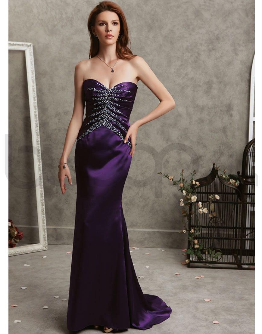 Mermaid silk satin pearl embellished bodice strapless sweetheart