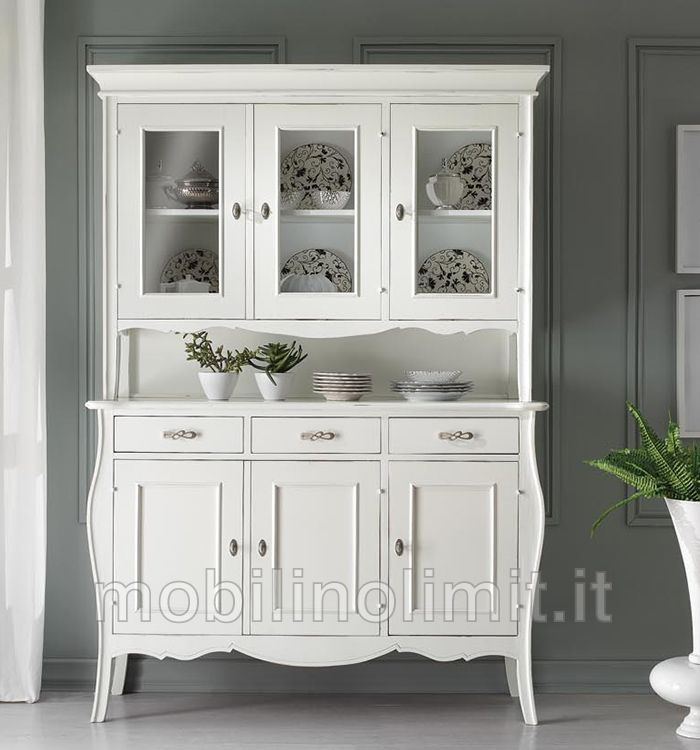 Cristalliera bombata 3 ante art znn3088 3089ar bianca - Porte stile shabby ...