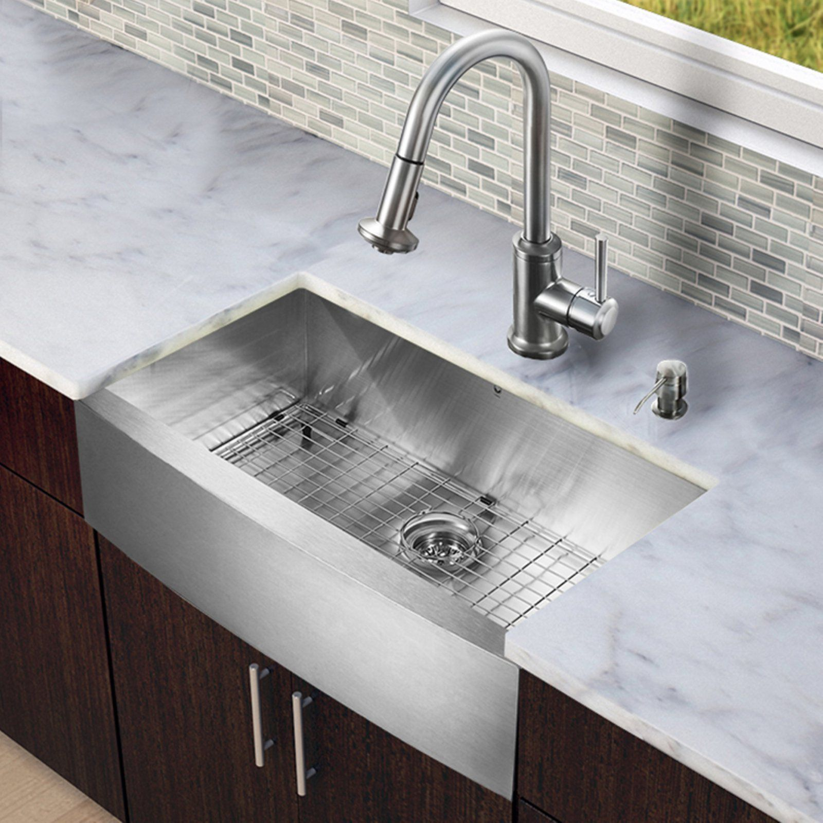 Vigo All In One Vg15242 Single Basin Farmhouse Kitchen Sink And