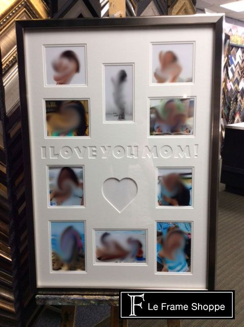 This Sweet Photo Montage Uses Double White Matting Around Each Photo And A Clean Lined Silver Frame Our Skilled Team Etched The Letters In Encadrement Photos
