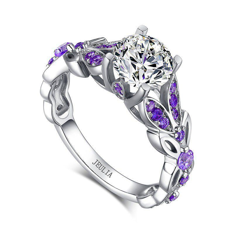 #AdoreWe #Jeulia Jeulia Butterfly Round Cut Created White Sapphire with Amethyst Sidestone Engagement Ring - AdoreWe.com