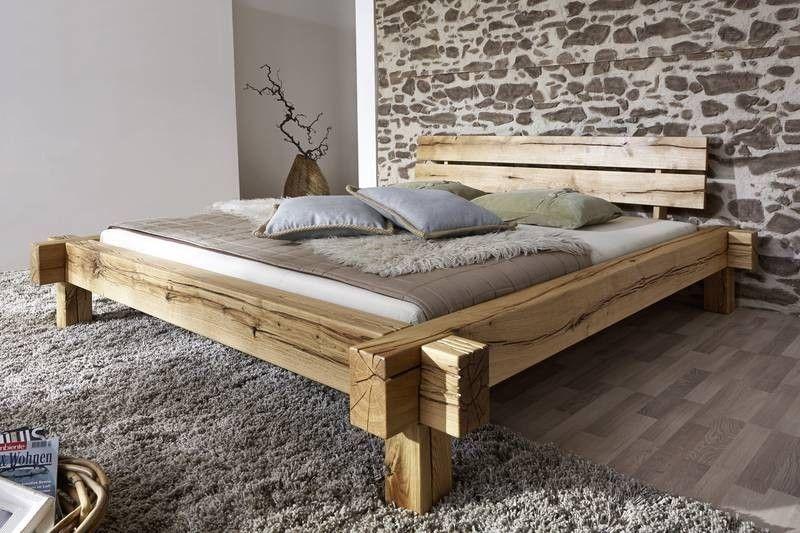 Balkenbett Wildeiche 200x140x85 natur geölt JANGALI #101 Jetzt - schlafzimmer natur