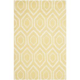 Equally well suited to your rustic cottage or modern townhouse, this hand tufted rug features a geometric print. Team with bare wood furniture, brass accents and pastel tones to create a rustically romantic scheme.   Product: RugConstruction Material: 100% WoolColour: Light goldFeatures: Hand-tuftedPile Height: 2 cmNote: Please be aware that actual colours may vary from those shown on your screen. Accent rugs may also not show the entire pattern that the corresponding area rugs ...