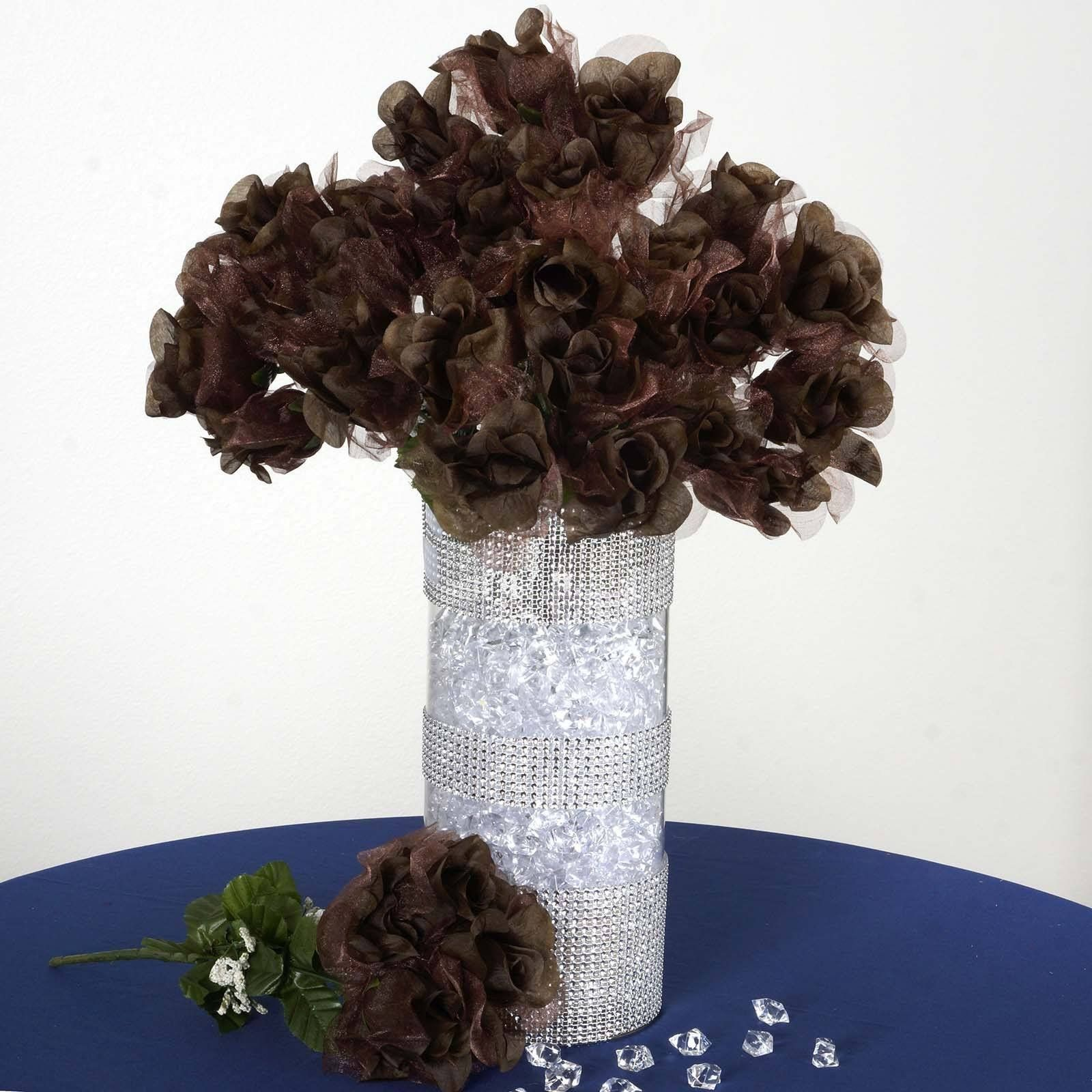84 Pack Chocolate Organza Rose Buds For Wedding Flower Bouquet ...