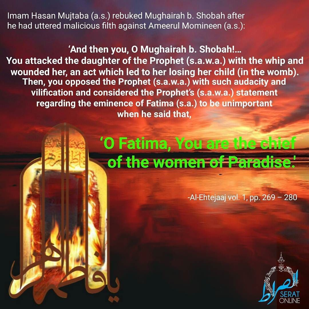 Imam Hasan Mujtaba (a.s.) rebuked Mughairah b. Shobah after he had uttered malicious filth against Ameerul Momineen (a.s.):- And then you O Mughairah b. Shobah!You attacked the daughter of the Prophet (s.a.w.a.) with the whip and wounded her an act which led to her losing her child (in the womb). Then you opposed the Prophet (s.a.w.a.) with such audacity and vilification and considered the Prophets (s.a.w.a.) statement regarding the eminence of Fatima (s.a.) to be unimportant when he said…