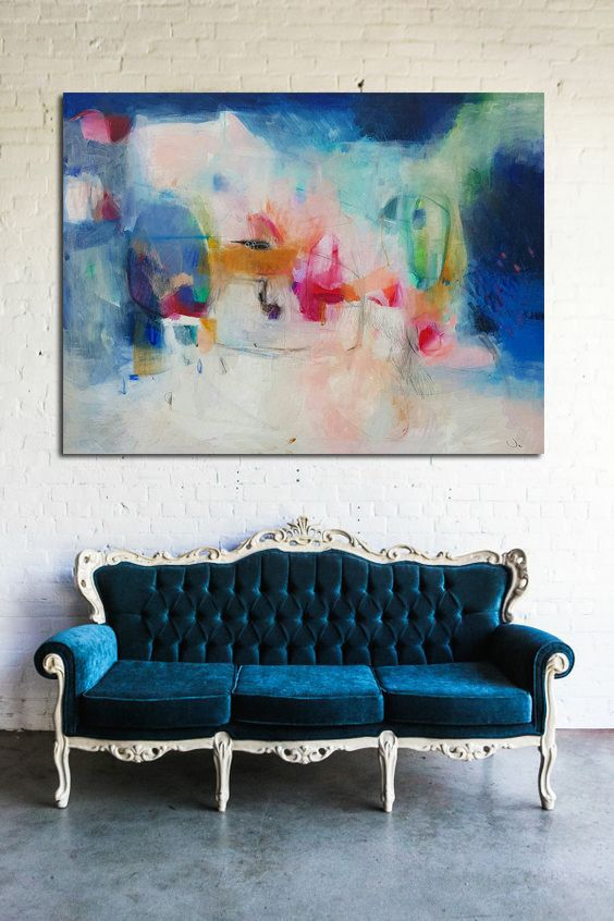 Abstract painting, acrylic painting, abstract art, wall art, home decor, canvas art, large painting, blue, wall decor, blue art, 46 x 36, de VictoriAtelier en Etsy