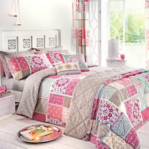 Flowers /& Butterfli Double Pink Dream Patchwork Duvet Cover Quilt Bedding Set