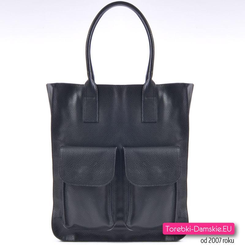Duża damska torba shopper z kieszeniami z przodu, mieści A4