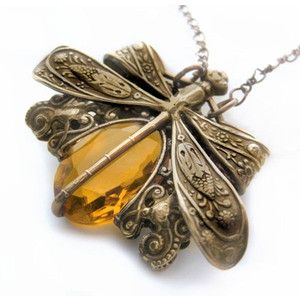 Dragonfly necklace, Victorian style vintage filigree jewelry pendant necklace in amber