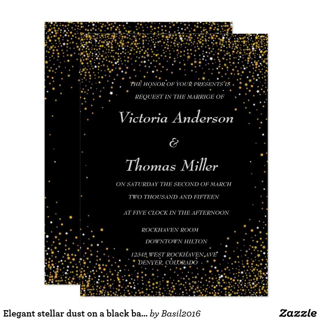 Elegant Stellar Dust On A Black Background Invitation Zazzle Com Black Backgrounds Invitations Elegant