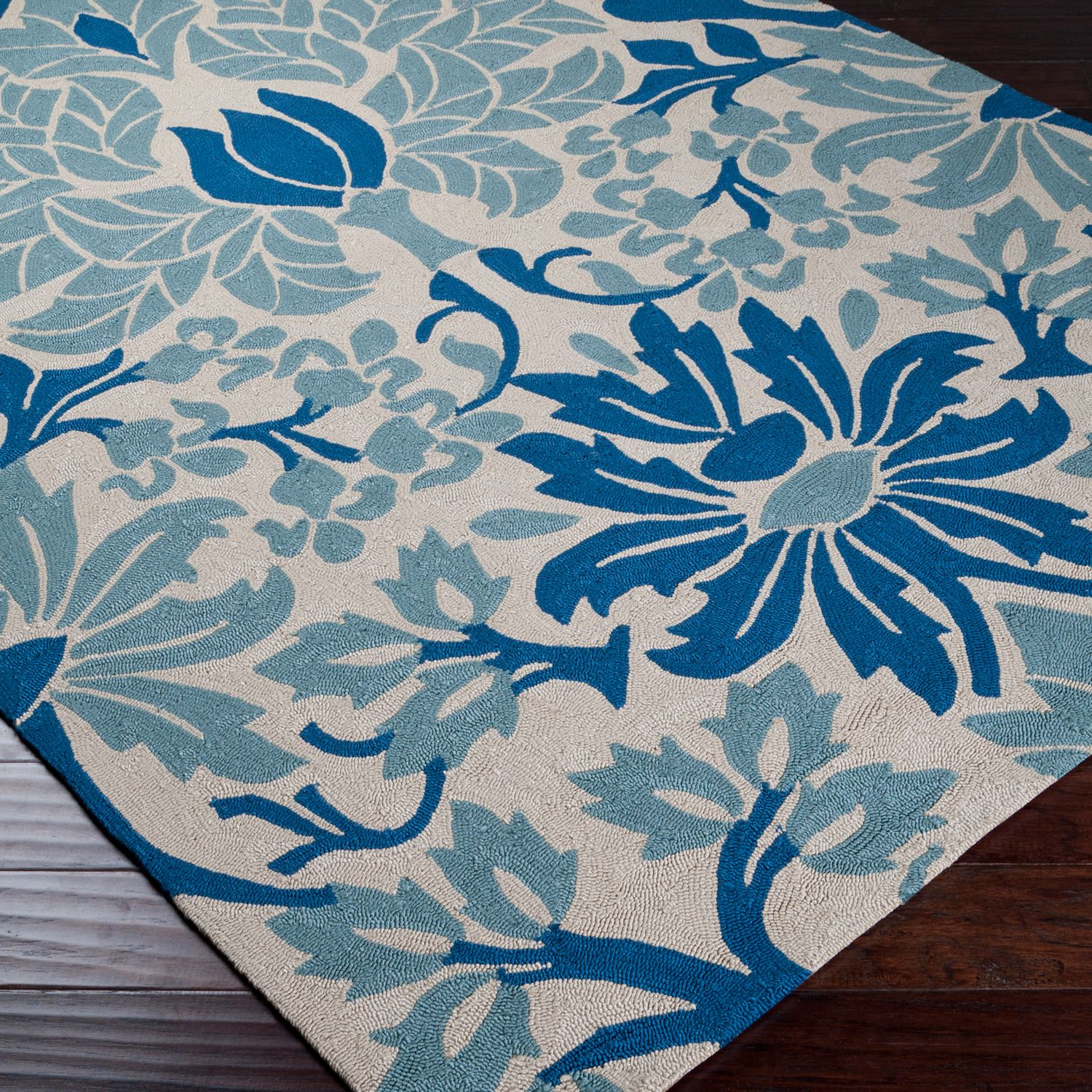 Homefires Indoor Outdoor Hooked Turquoise White Indoor: Surya Rain Royal Blue Hand Hooked Rug @Layla Grayce