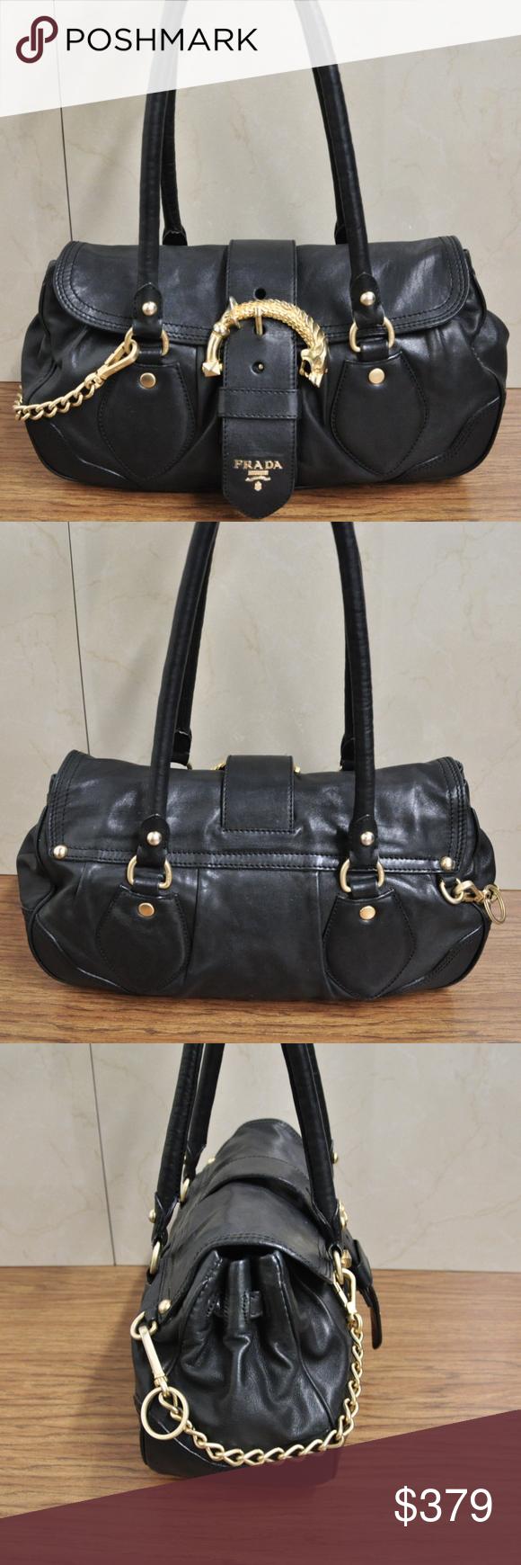 a0a10820e3fb Prada Cervo Animalier Black Soft Leather Satchel Auth Prada Cervo Animalier  Black Soft Leather Satchel Handbag