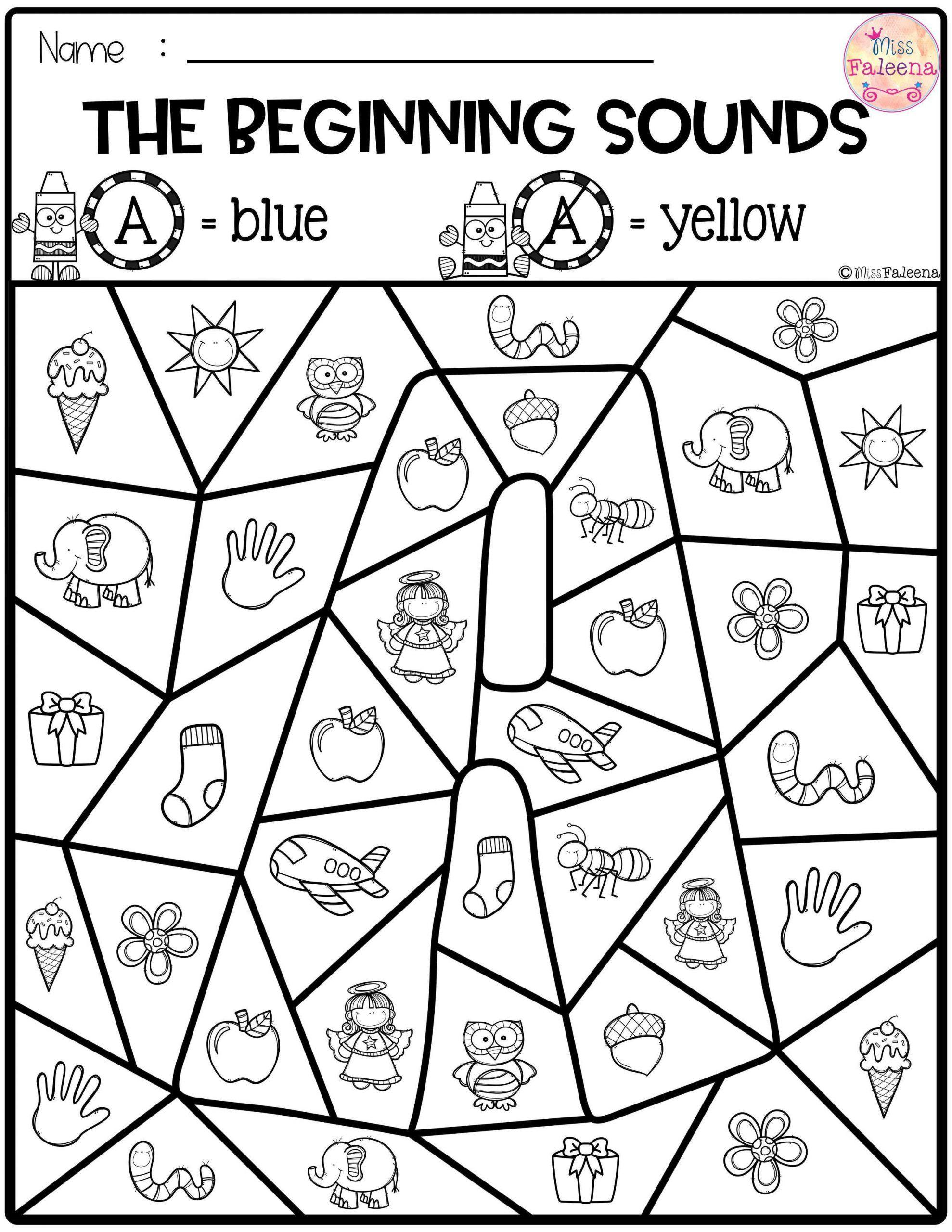 Free Kindergarten Worksheets Beginning Sounds