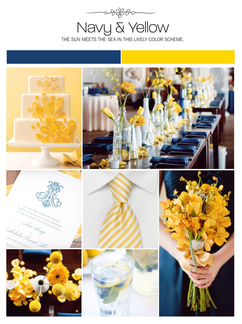 navy and yellow wedding inspiration board color palette