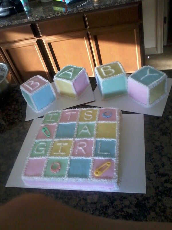baby girl, baby blocks baby shower cake, no fondant  my cakes, Baby shower invitation