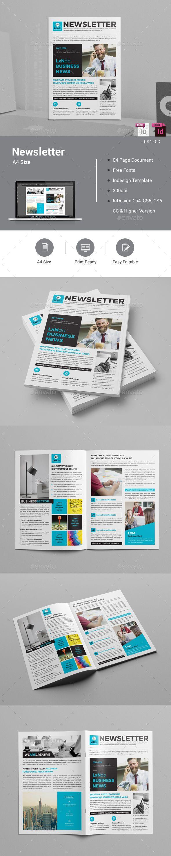 Newsletter Design Template InDesign INDD   Newsletter Template ...