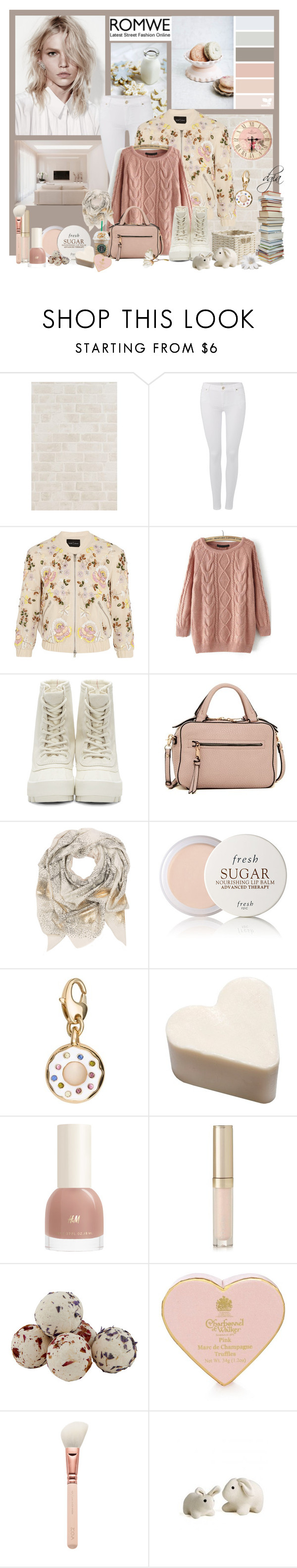 """ROMWE Loose Pink Sweater"" by dgia ❤ liked on Polyvore featuring 7 For All Mankind, Needle & Thread, adidas Originals, Urban Expressions, Sophie Darling, Fresh, Kate Spade, By Terry, Laura Ashley and women's clothing"