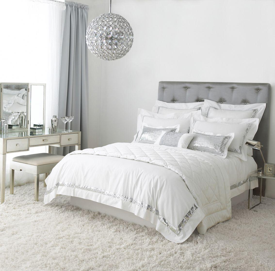 Grey, White, Silver Bedroom | Apt | Home bedroom, Silver ...